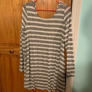 Comfy grey and white striped dress from wet seal!